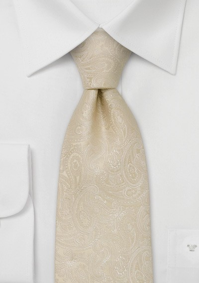 Paisley designer necktie -  Light tan colored silk tie with paisley pattern