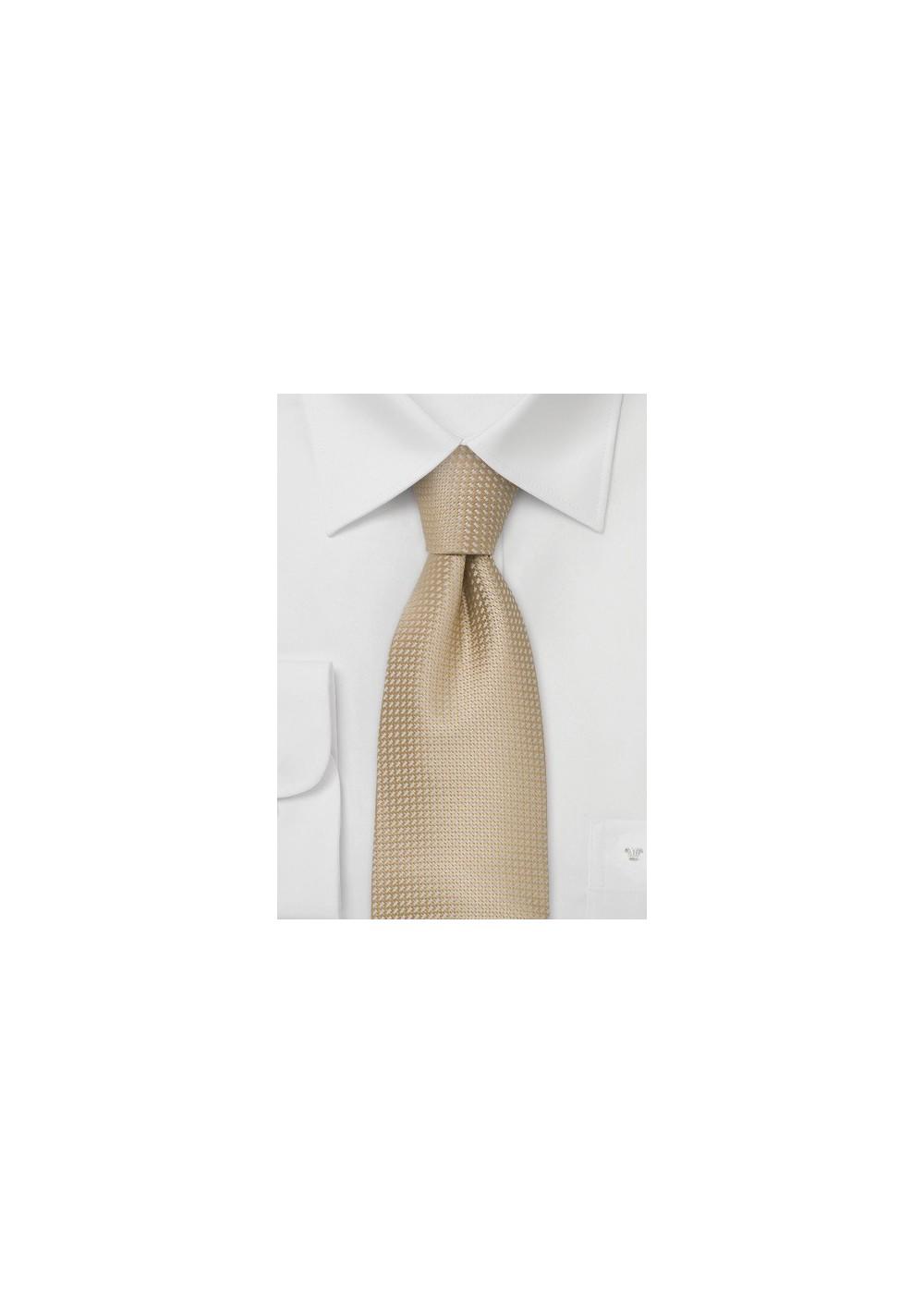 Extra Long Ties - XL silk tie in light cream-tan color