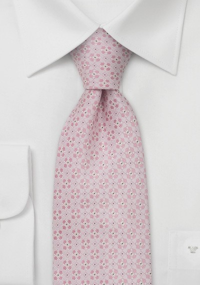 Extra long neckties - Pink silk tie by Chevalier