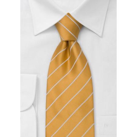 Striped Ties - Orange tie with white stripes