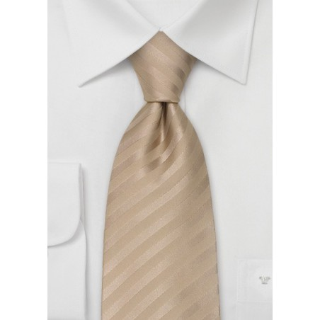 Wedding Neck Ties - Light Brown Striped Tie