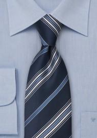 Blue Striped Silk Tie by Cavallieri in XL Size