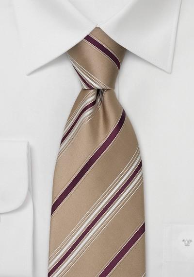 Tan Designer Ties - Striped Necktie by Cavallieri