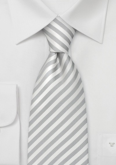 Formal Extra Long Neckties - White & Silver Striped XL Tie