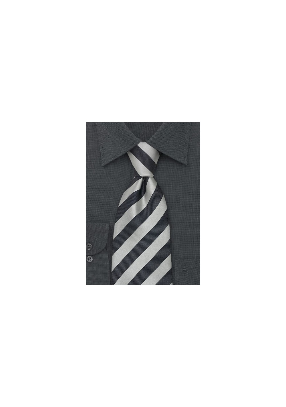 Striped Silk Ties - Gray & Silver Striped tie