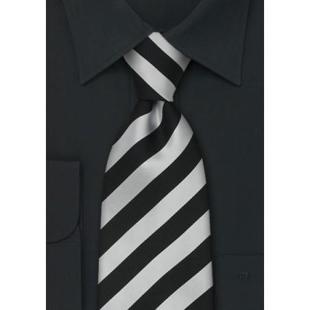 Striped Neckties - Black and grey striped silk tie
