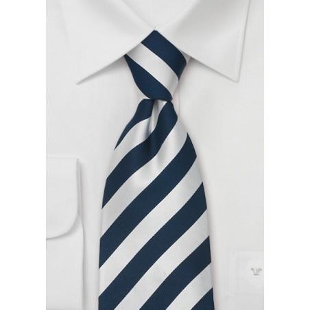 Striped Silk Ties - Blue & Silver striped necktie