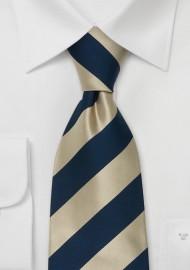Gold Blue Silk Ties - Striped Necktie in Gold & Blue