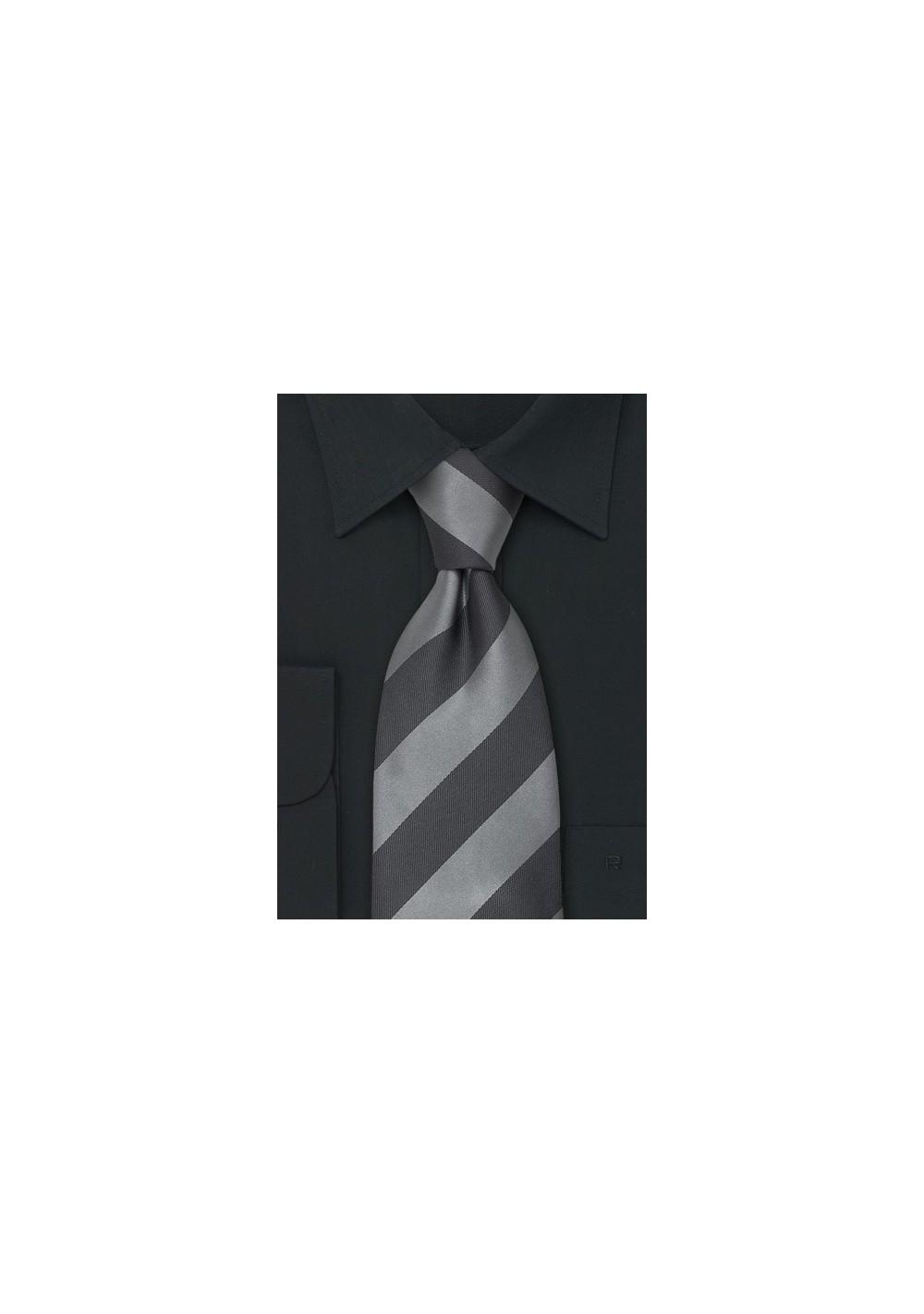 Striped Mens Ties - Gray & Silver Striped Silk Tie