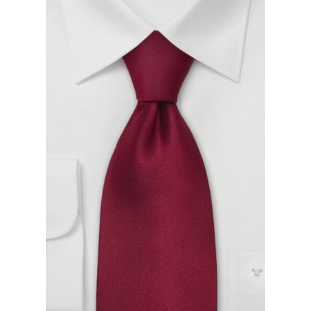 Dark Red Silk Ties - Solid Cherry-Red Necktie