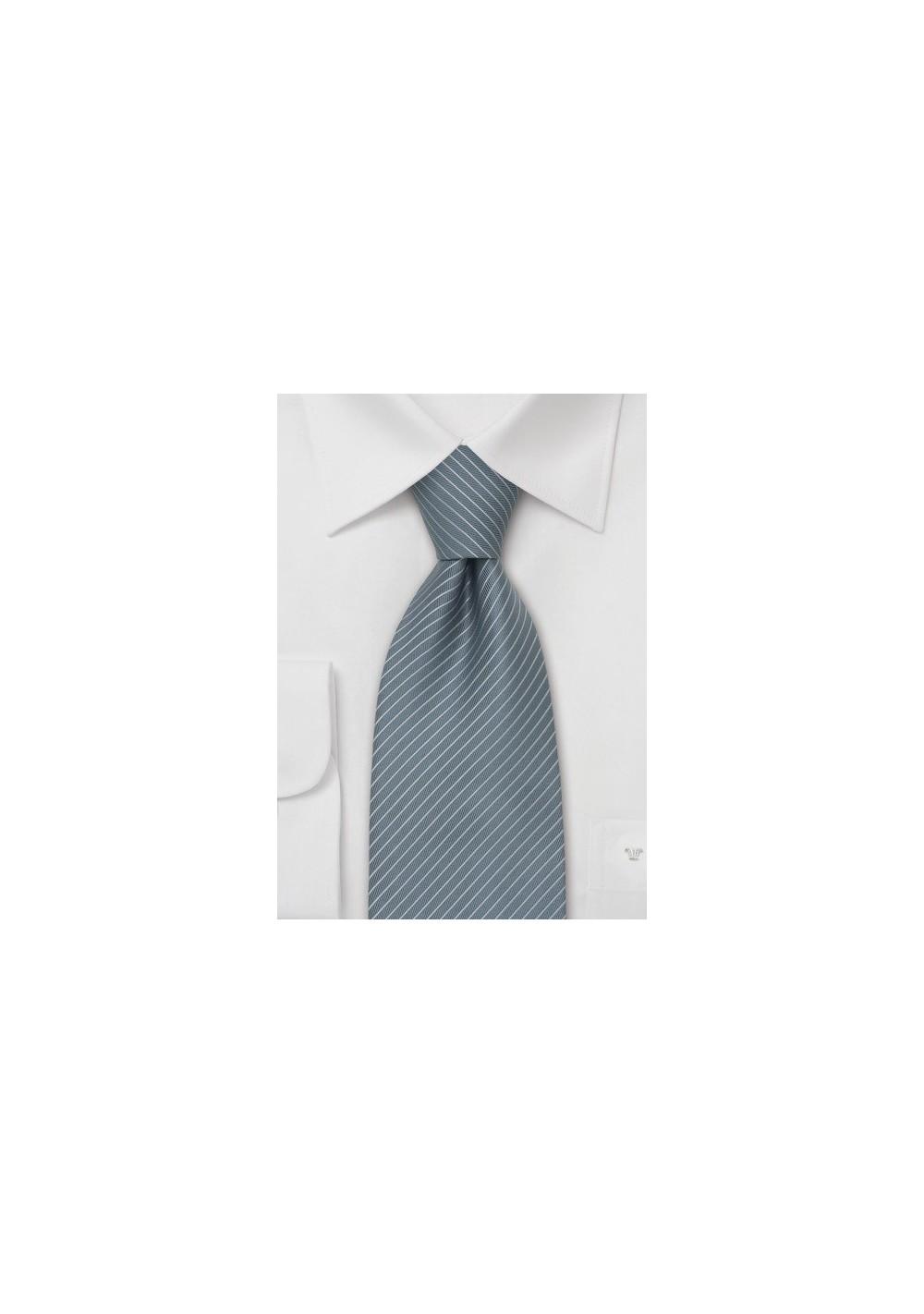 Gray Mens Ties - Fine Striped Tie in a Slate Gray Color