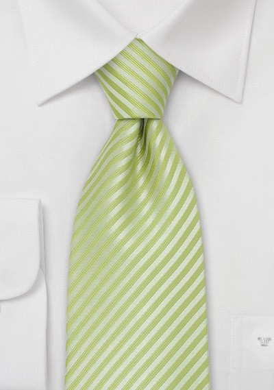 Bright Green Tie - Lime Green Tie With Fine Stripes