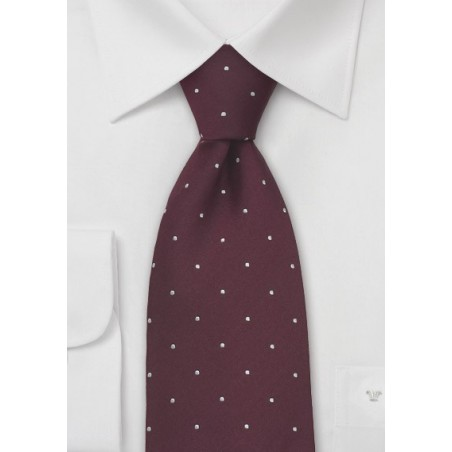 Burgundy and White Polka Dot Tie by Chevalier