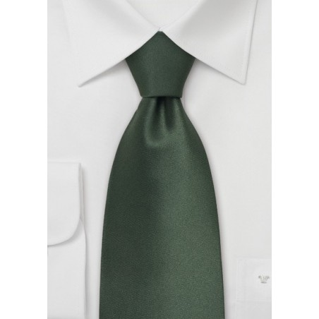 Dark Green Necktie in XL Length