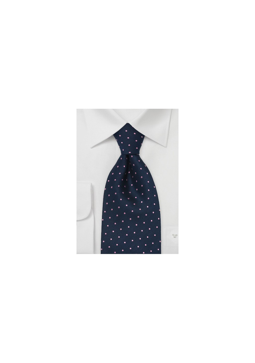 Navy Blue & Pink Polka Dot Tie by Chavelier