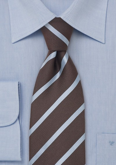 Brown and Baby Blue Striped Silk Tie