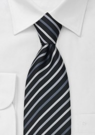 Black Tie With White, Silver & Gray Stripes
