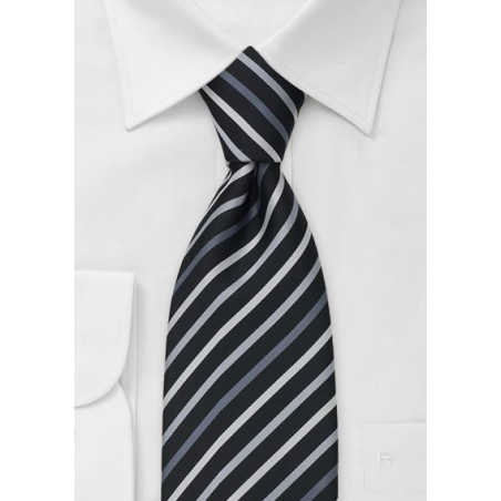 Black Tie With White, Silver & Gray Stripes