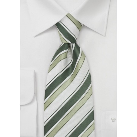 Modern Silk Tie in Green and White