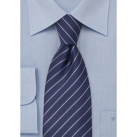 Modern Striped Tie in Persian Blue