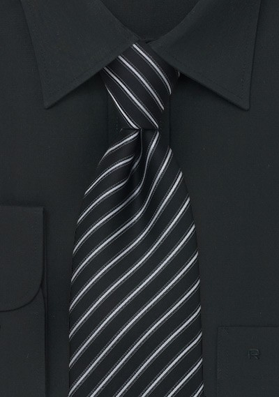 Modern Striped Tie in Black, Silver, and Gray
