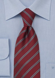 Carnelian Red Neck Tie with Blue Stripes