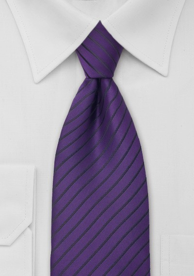 Classic Dark Purple Striped Tie