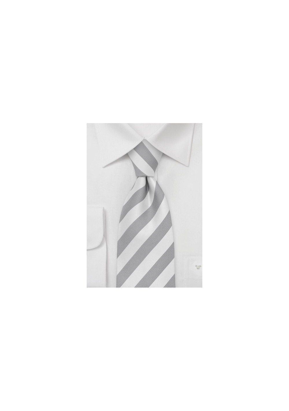 Mens Tie in Silver and White