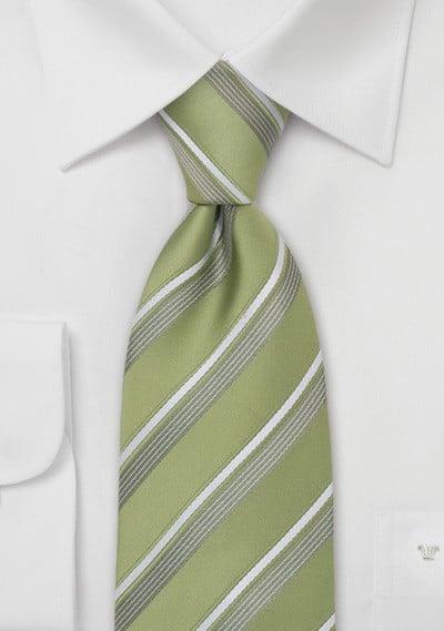 Tea-Green Striped Tie by Cavallieri