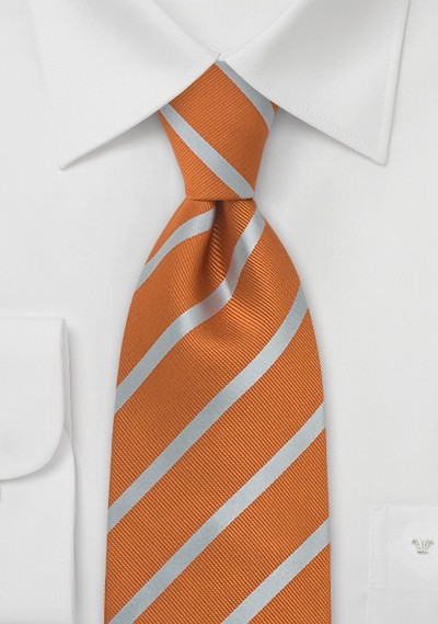 Burned Orange and Silver Striped Silk Tie