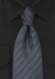Charcoal Gray Striped Tie