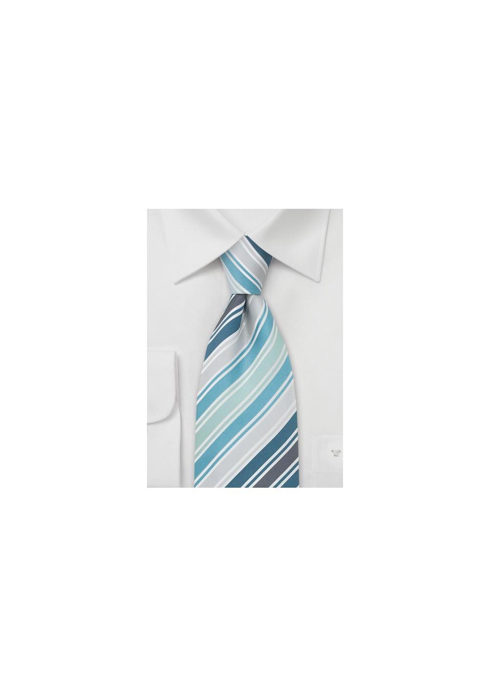 Mens Silk Tie by Cavallieri in Turquoise, Teal, Silver