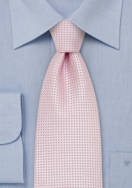 XL Length Silver Pink Silk Tie