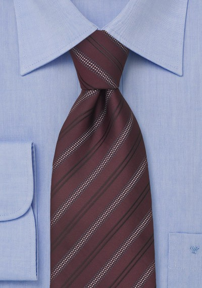 Burgundy Red Striped Mens Necktie