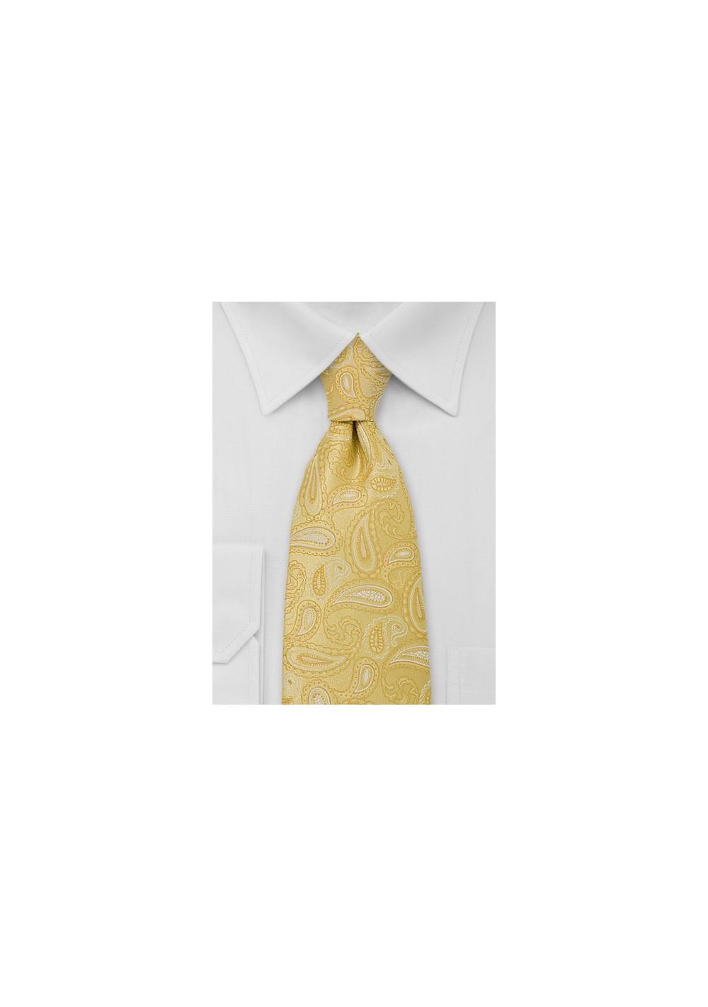 Bright Yellow Paisley TIe