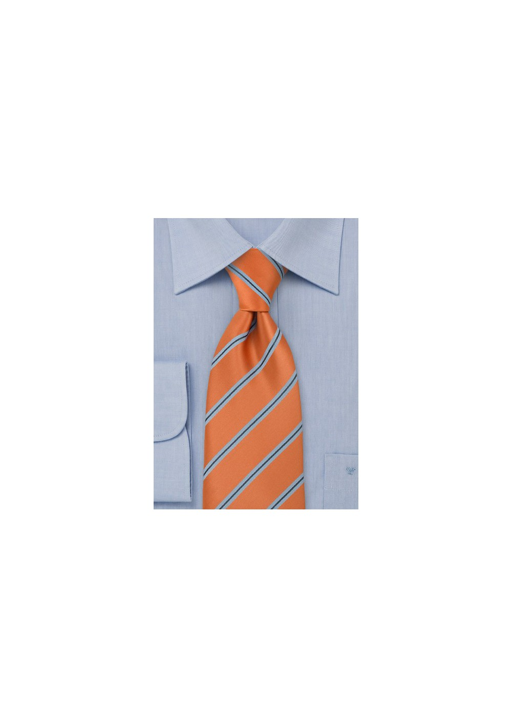 Narrow Striped Tie Orange Light Blue