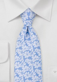 Light Blue Tie with White Hibiscus