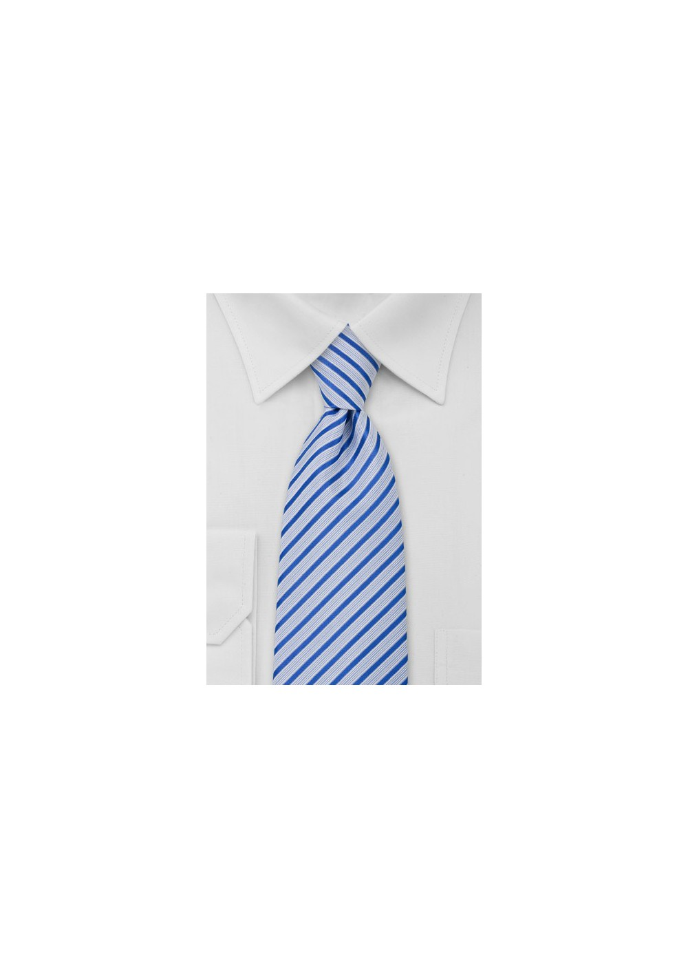 Striped Necktie in Light Blue White