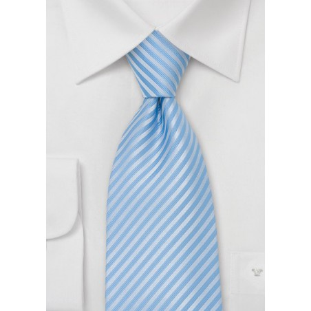 Powder Blue Striped Tie for Kids