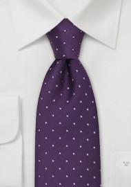 Extra Long Purple Polka Dot Tie