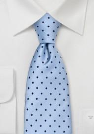 Light Blue Polka Dot Tie in XL Length