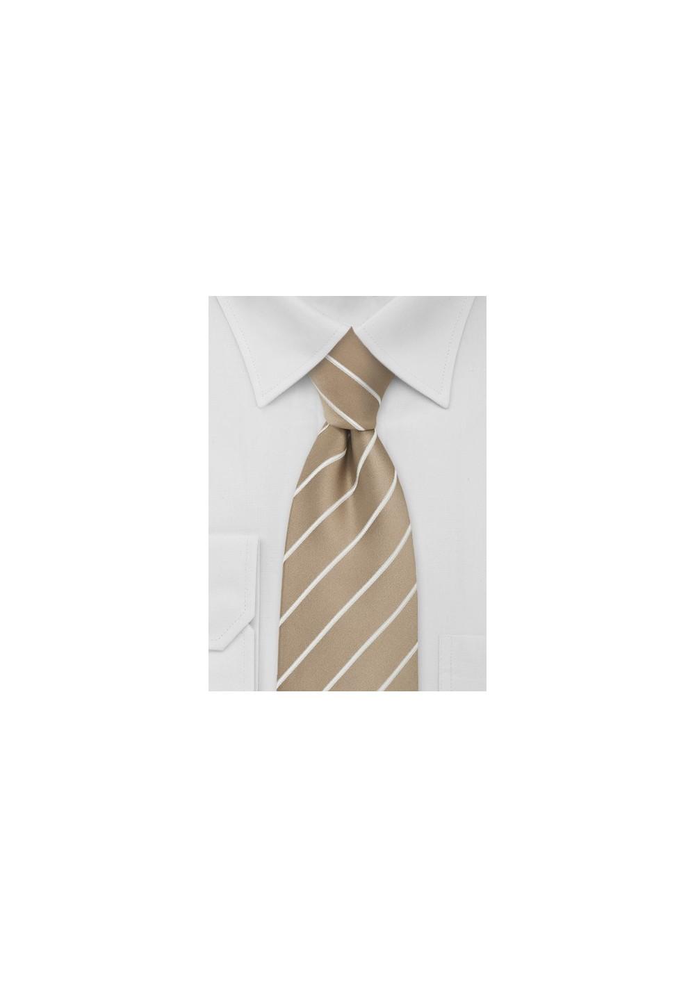 Beige Striped Mens Necktie