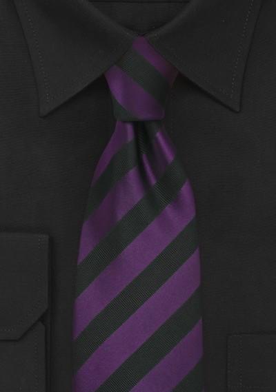 Black and Purple Striped Mens Tie