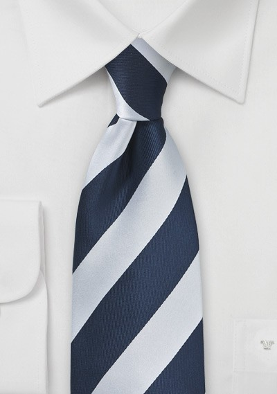 Navy and Silver Necktie