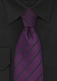 Eggplant Purple and Black Striped Tie