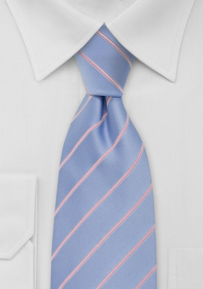 Light Blue and Pink Striped Tie
