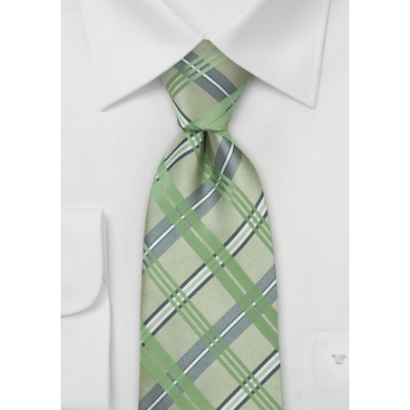 Checkered Silk Tie in Tea Green