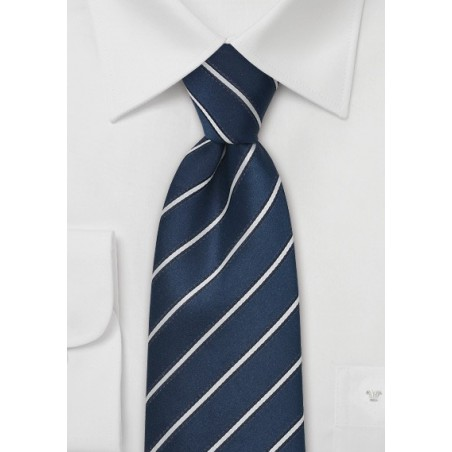 Navy Blue and Silver Silk Tie