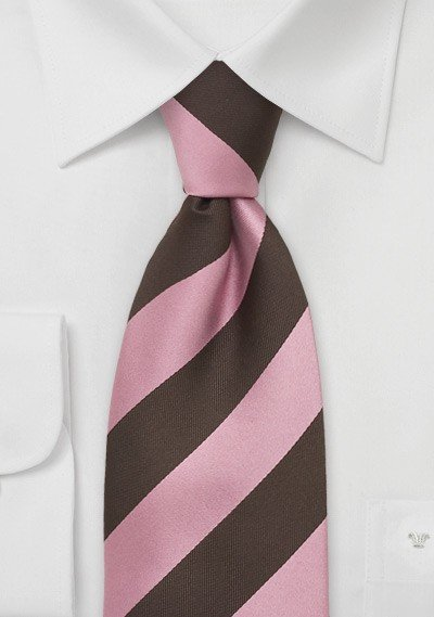 XL Striped Tie in Pink and Brown