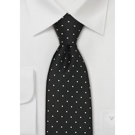 Black & White Polka Dot Tie in XL